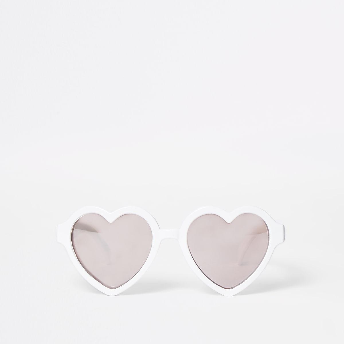 Mini girls white heart sunglasses