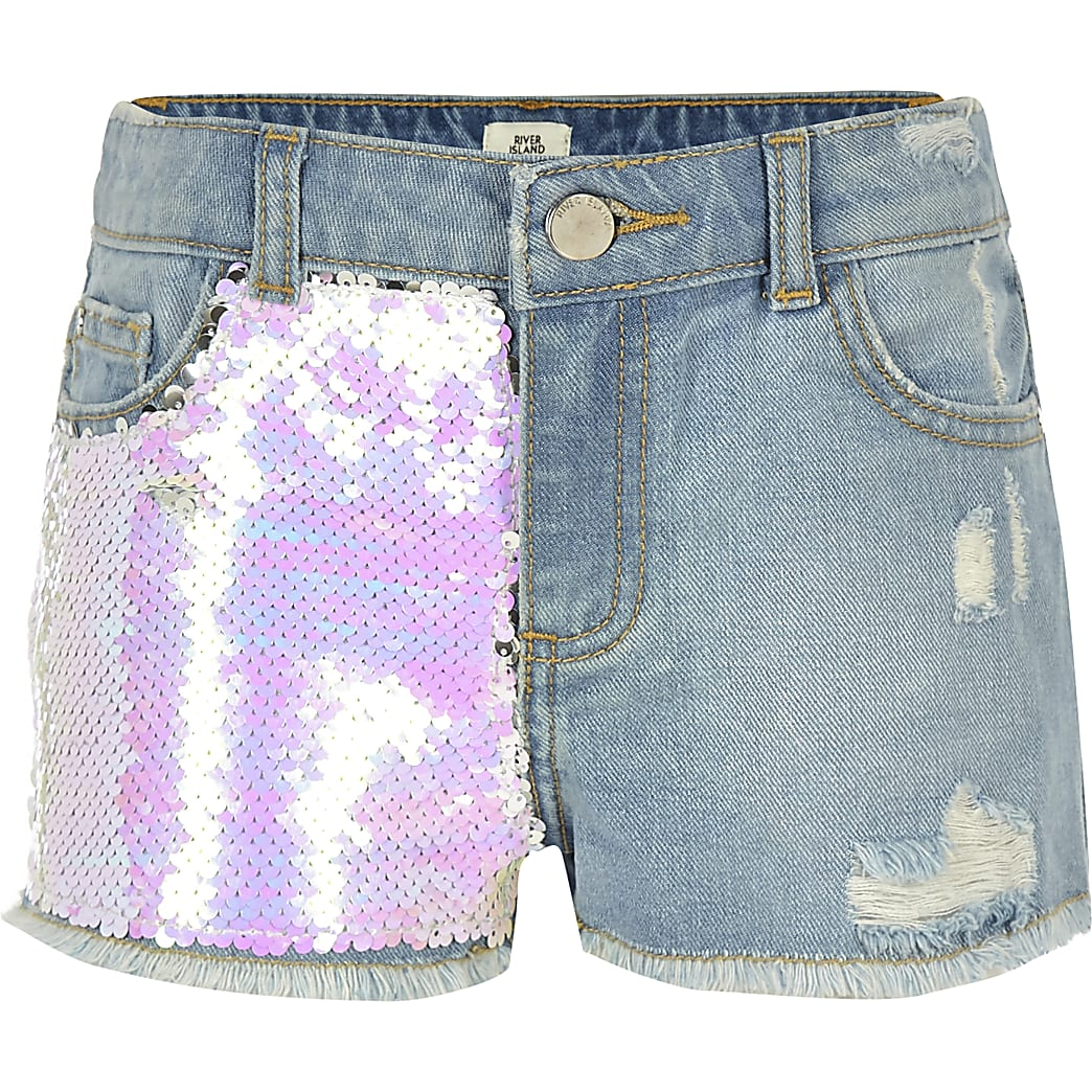 Girls blue Becca sequin shorts