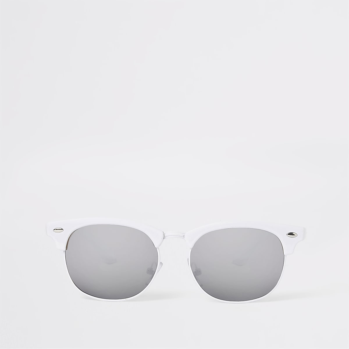 Girls white retro frame sunglasses
