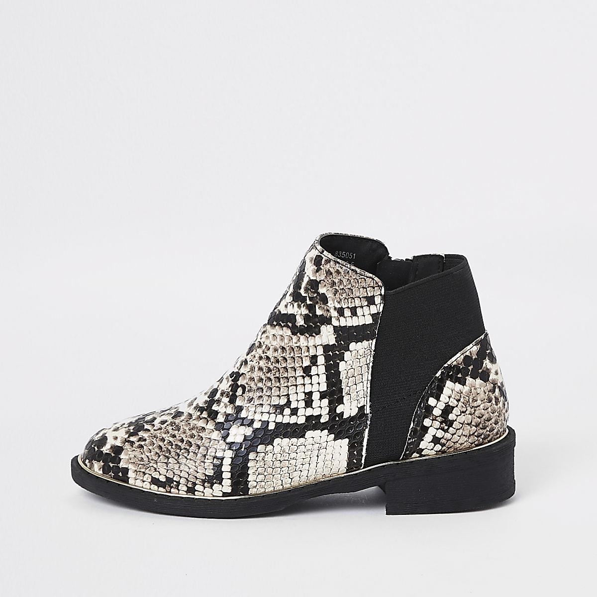 Girls brown snake skin chelsea boots