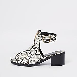 Bruine schoenlaarsjes met slangenprint voor meisjes