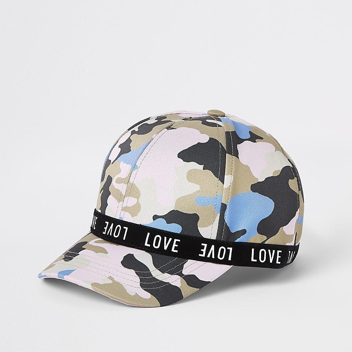 Girls pink camo 'love' cap