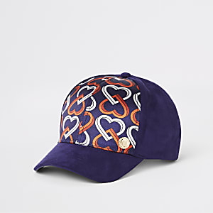 Girls navy heart print cap