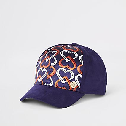 Girls navy heart print cap