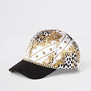 Girls white baroque chain cap