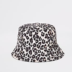 Mini - Omkeerbaar hoedje met luipaardprint voor meisjes