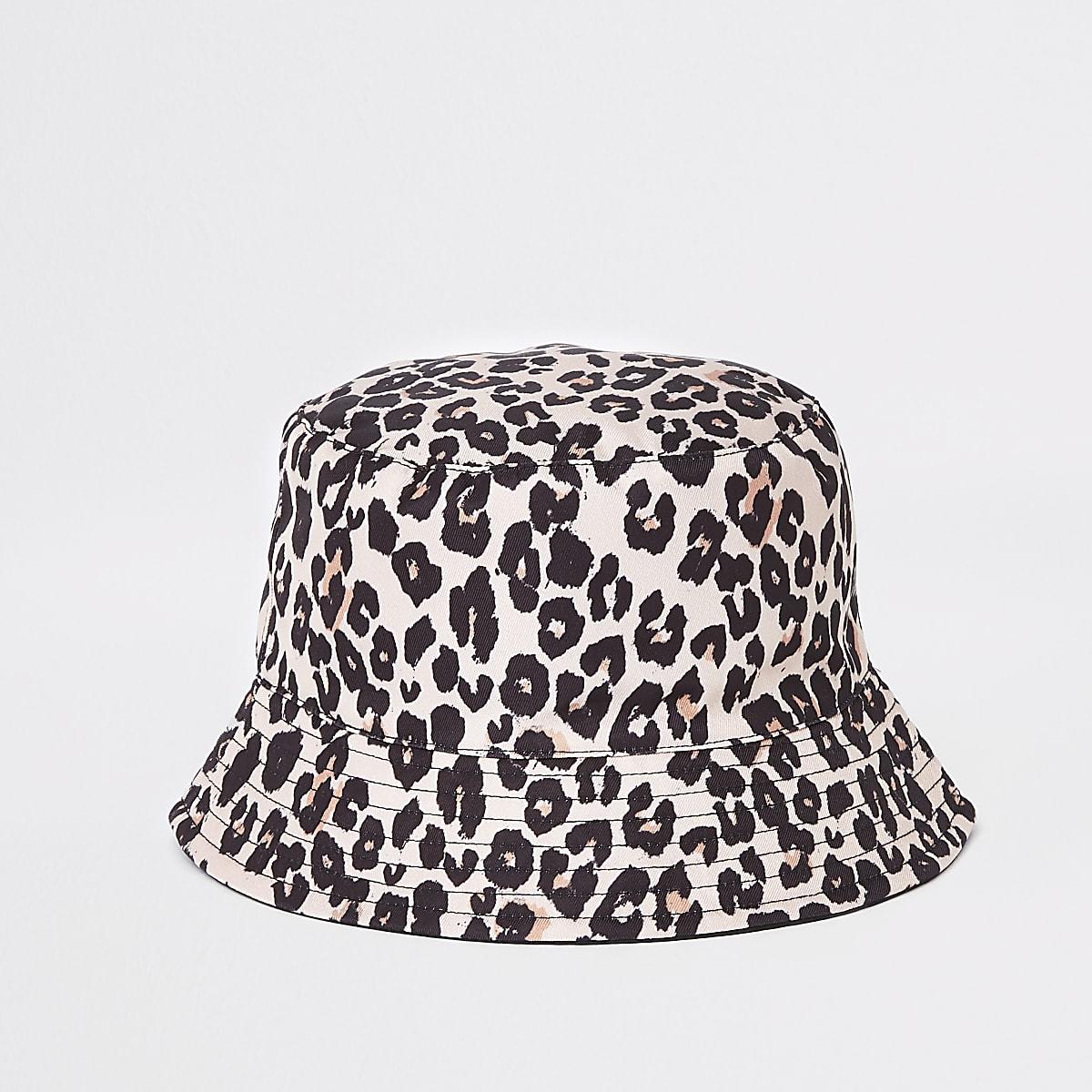 Mini girls leopard reversible bucket hat