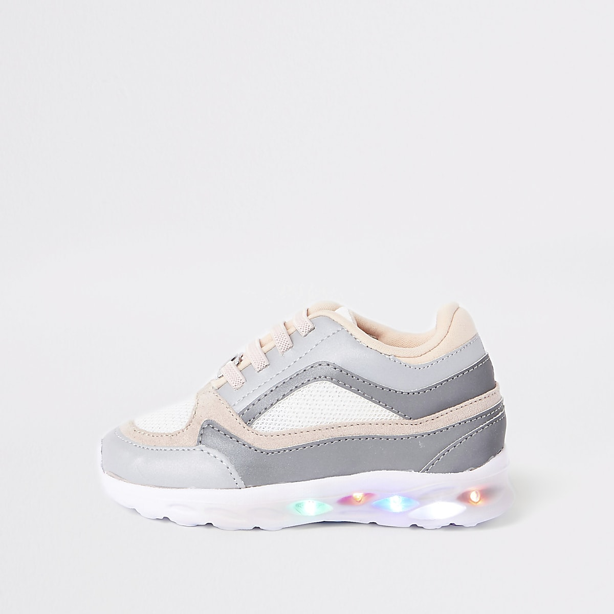 Mini girls grey light up trainers