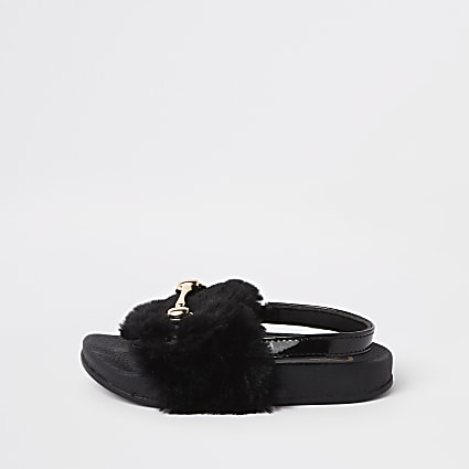 Mini girls black faux fur snaffle sliders