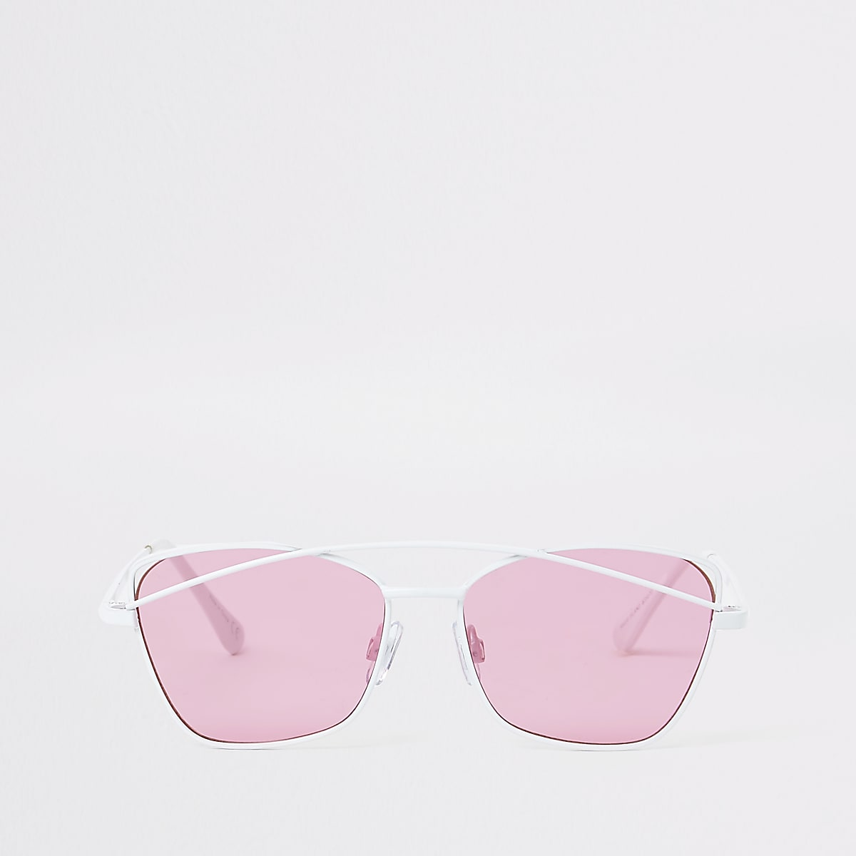 Girls white pink lens sunglasses