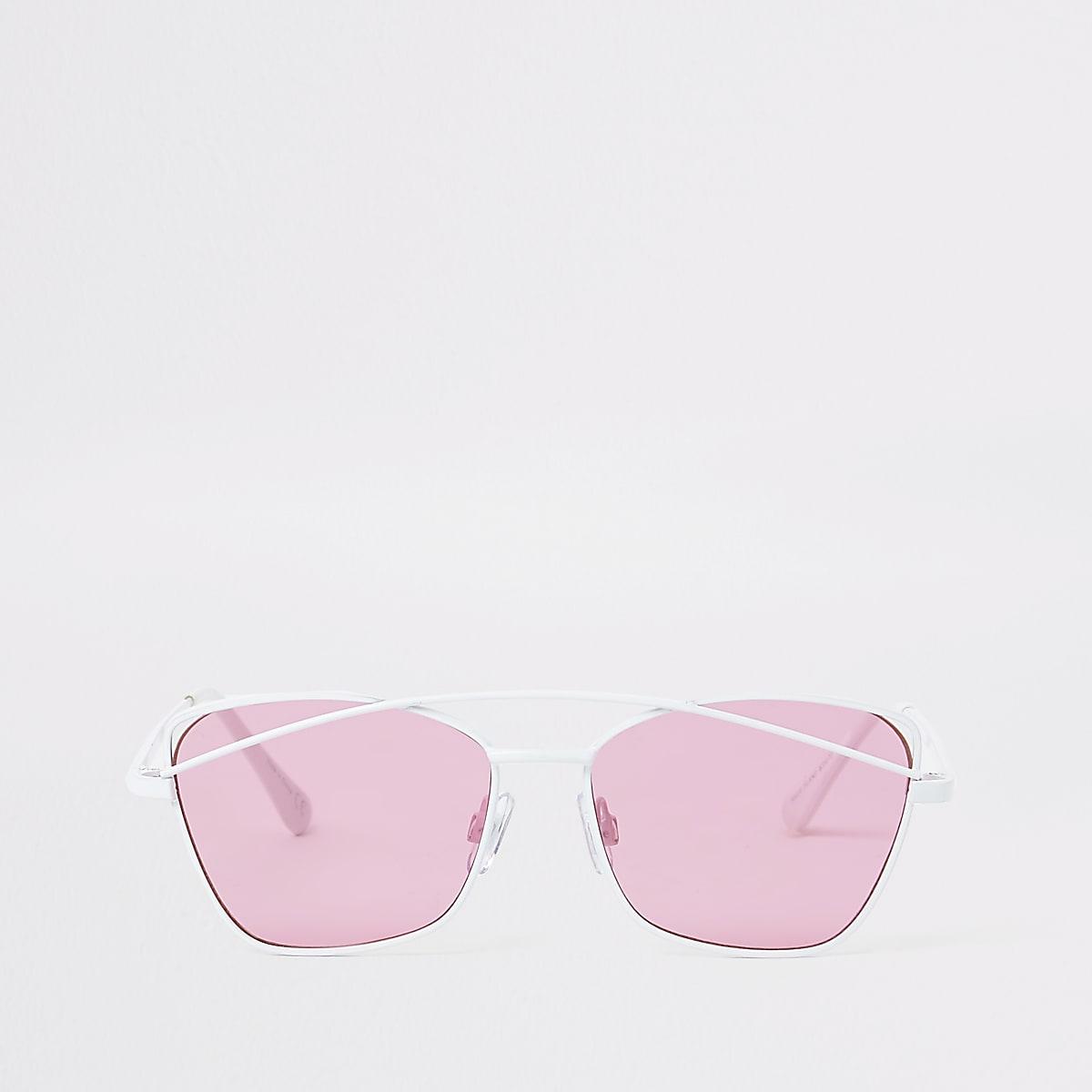 Lunettes de soleil blanches à verres roses pour fille