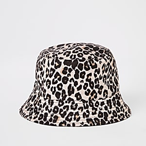 Girls brown leopard reversible bucket hat