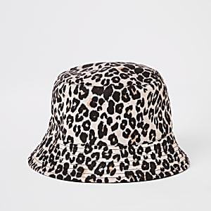 Bruin omkeerbaar hoedje met luipaardprint voor meisjes