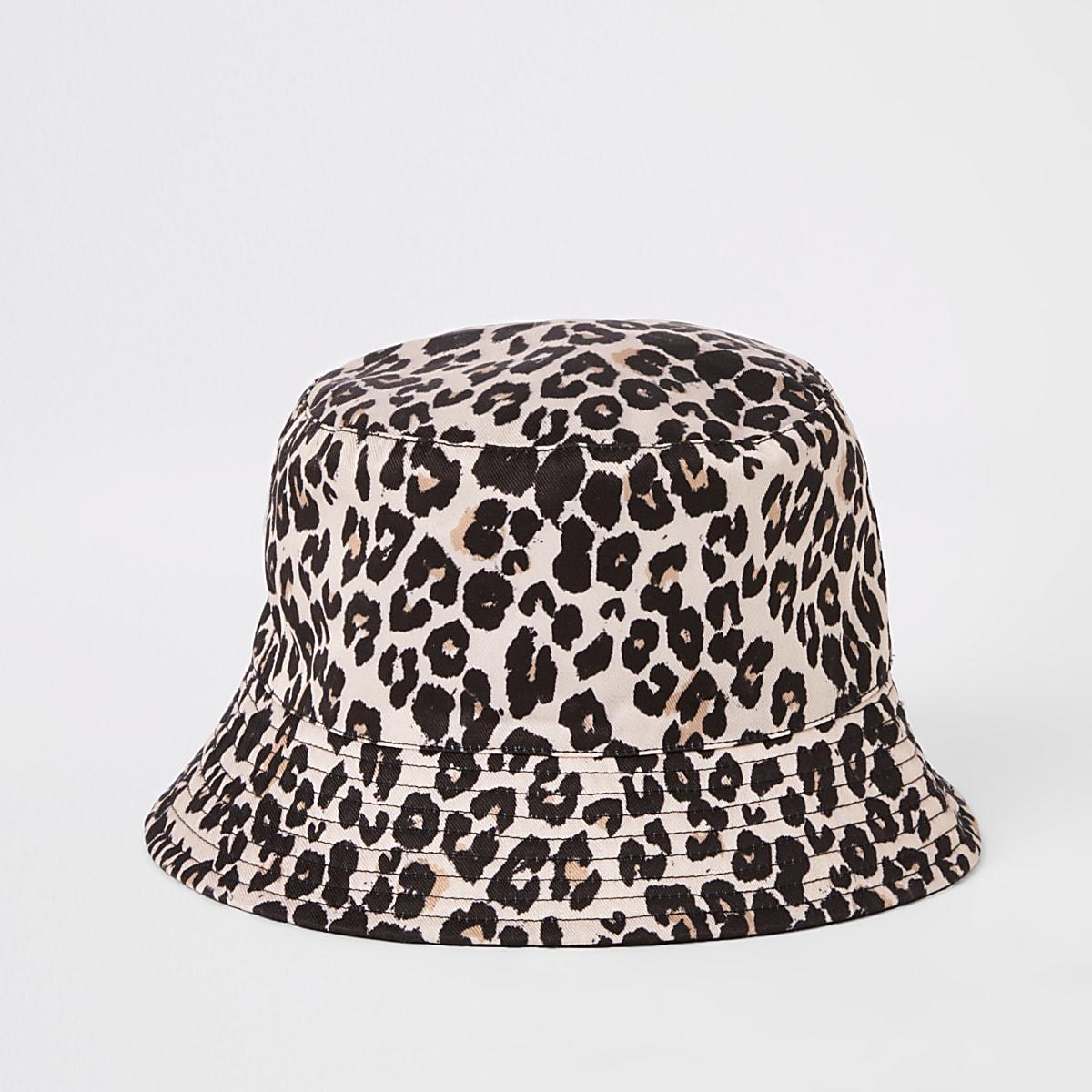 Girls brown leopard reversible bucket hat