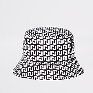 Zwart omkeerbaar hoedje met RI-logo voor meisjes