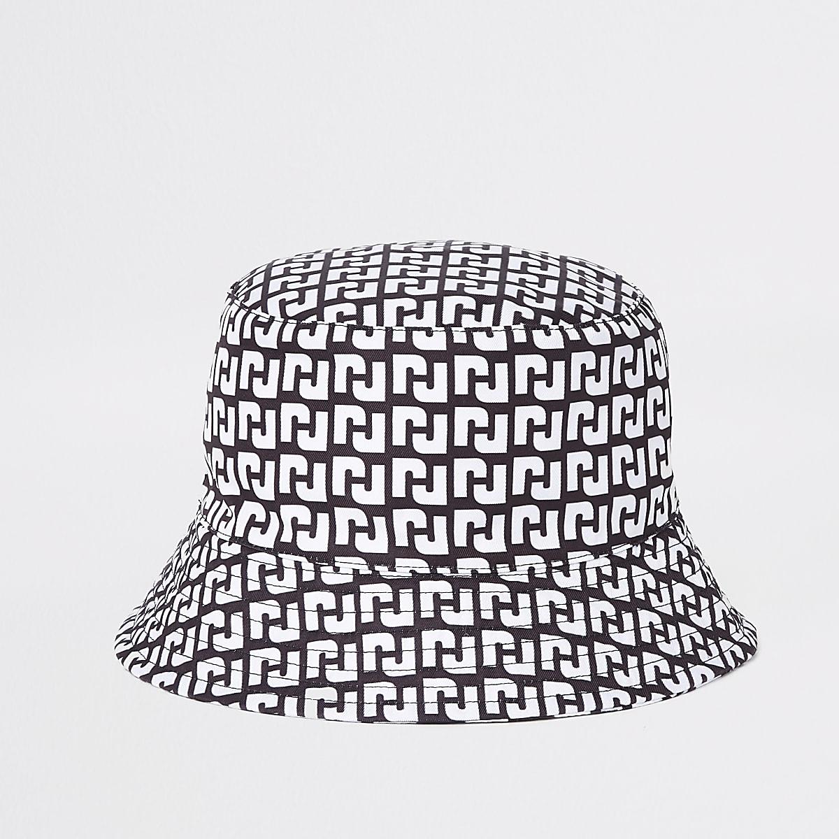 Zwarte omkeerbare bucket hat met RI-logo voor meisjes