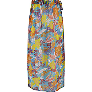 Girls blue tropical print beach skirt