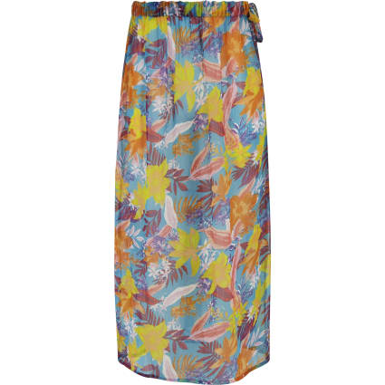 Girls blue tropical print beach skirt