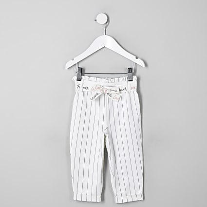 Mini girls white stripe paperbag trousers