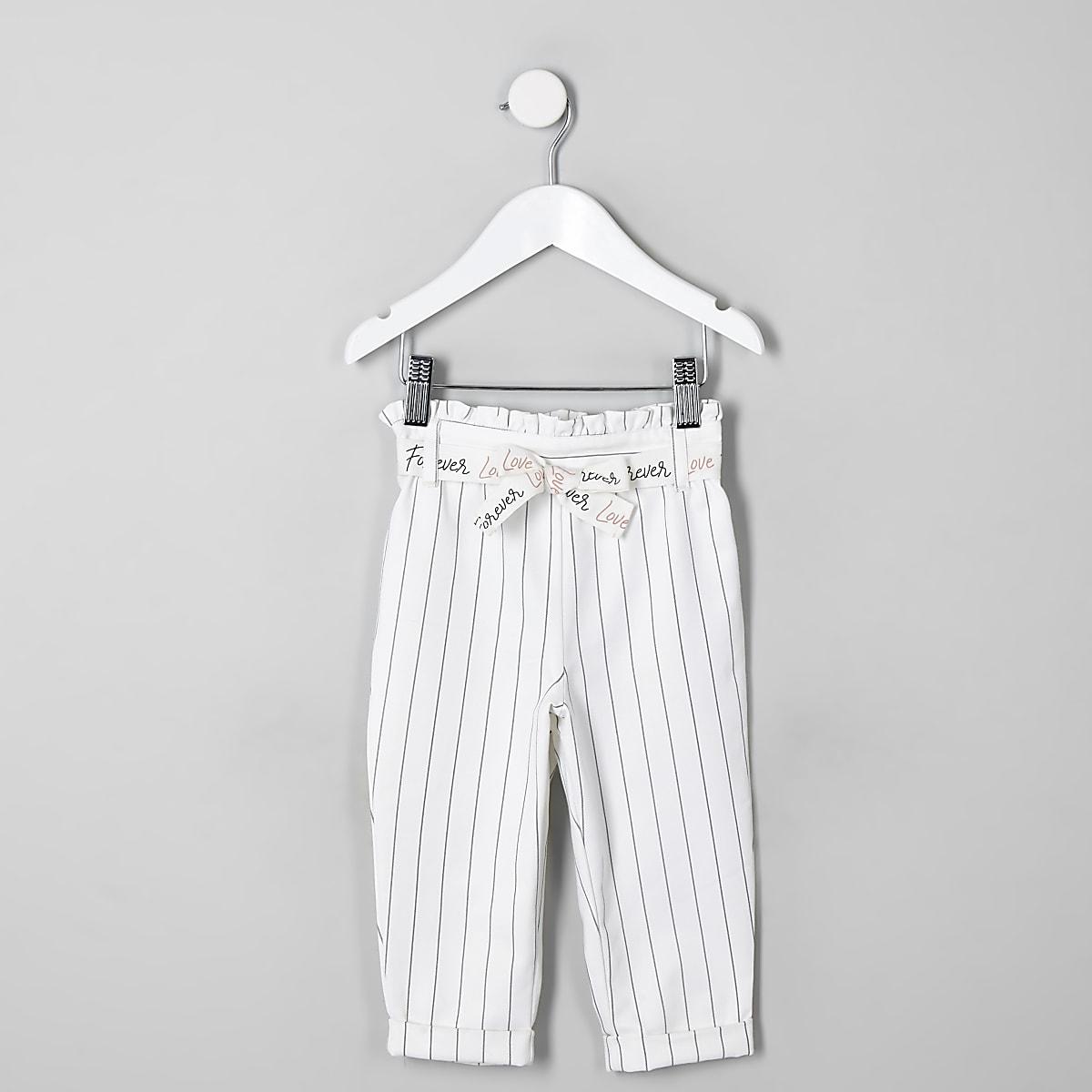 Mini - Witte gestreepte broek met ingesnoerde taille voor meisjes