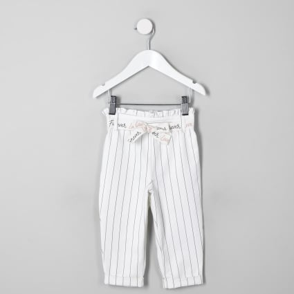 Mini girls white stripe paperbag trousers
