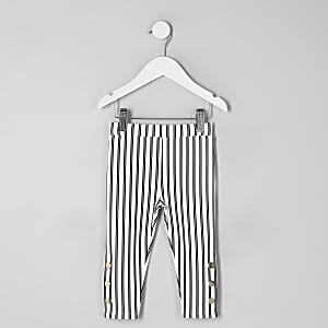Mini girls white stripe leggings