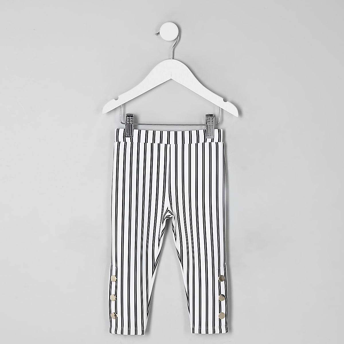 Mini girls white stripe leggings