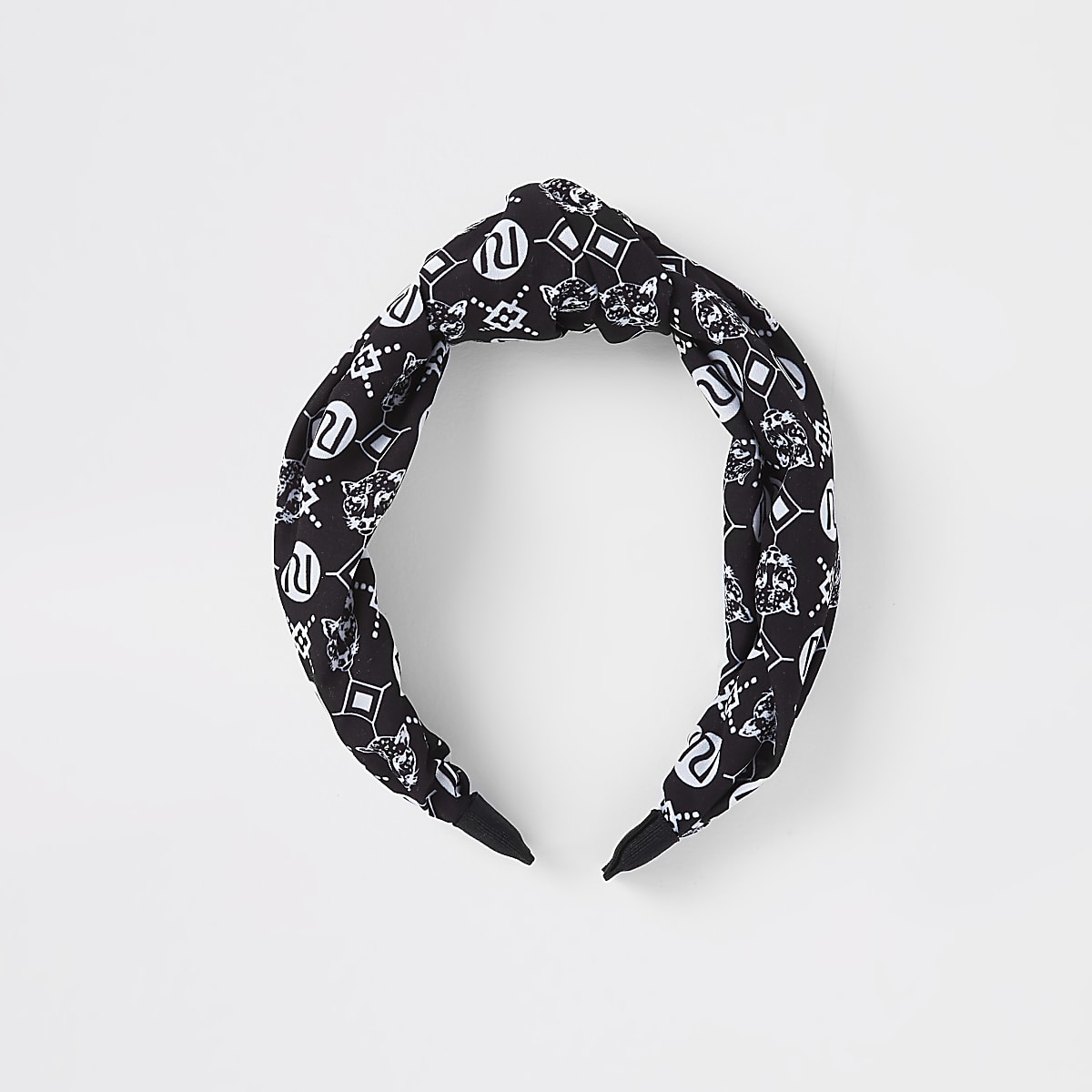 Girl black RI monogram scarf knot head band
