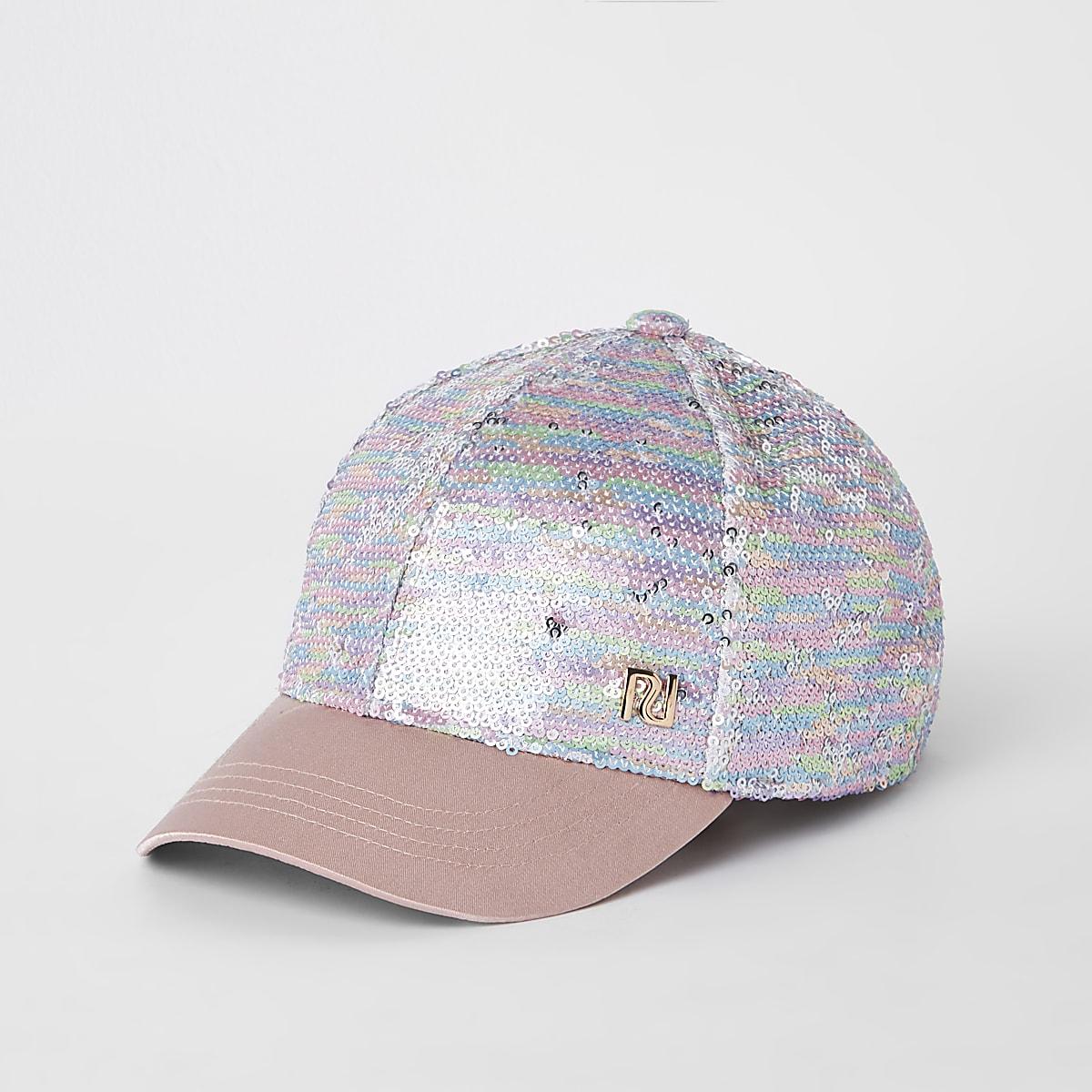 Mini girls pink sequin cap