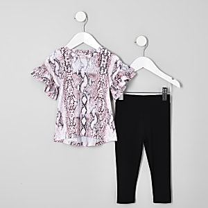 Ensemble avec t-shirt à imprimé serpent rose mini fille