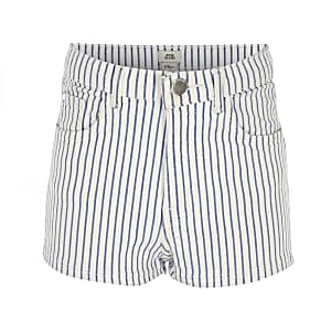 Girls blue Annie stripe high rise shorts