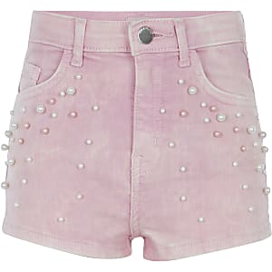 Girls pink pearl embellished denim shorts