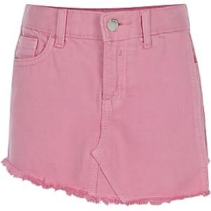Jupe-short en denim rose pour fille