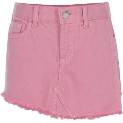 Girls pink denim skort