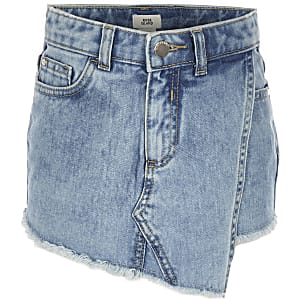 Girls blue denim skort