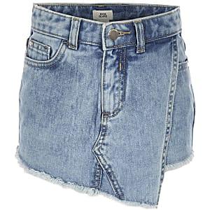 Jupe-short en denim bleue pour fille