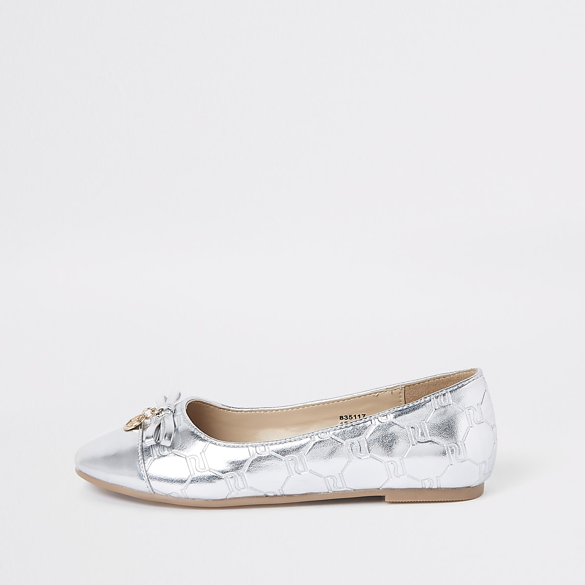 Girls silver RI monogram ballerina pumps
