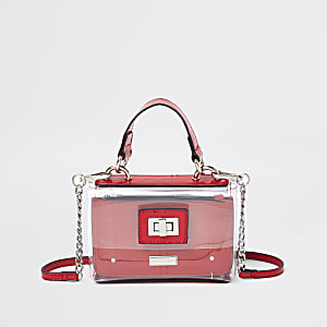 Girls red vinyl cross body bag