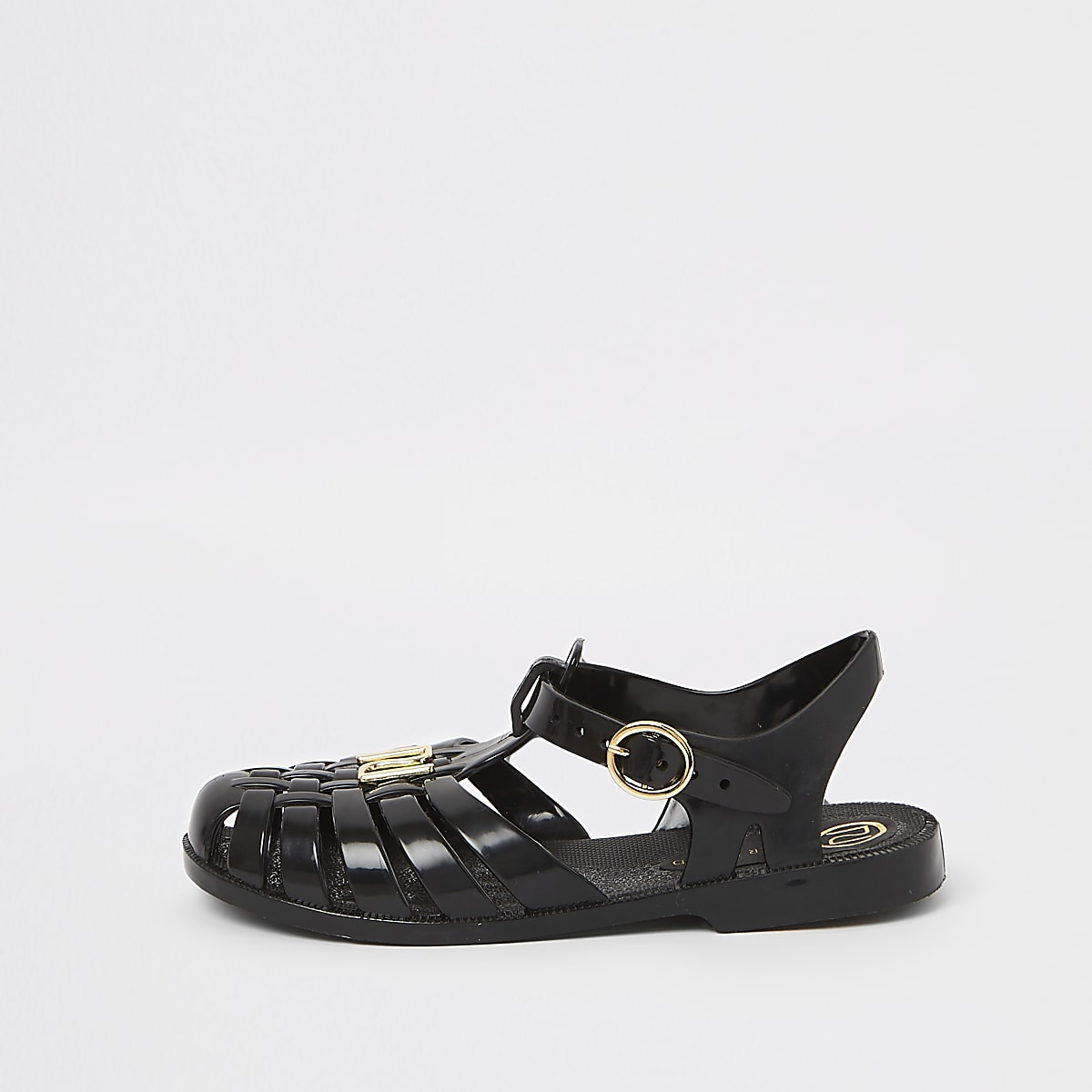 Girls black caged jelly sandals