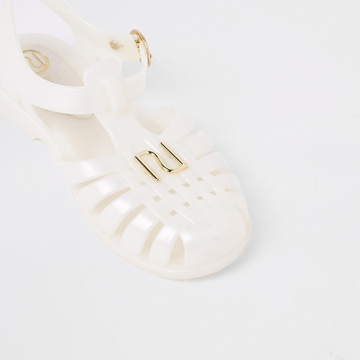5f70cb23ab2 Girls cream caged jelly sandals