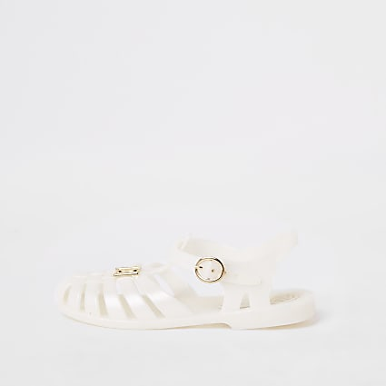 Girls cream caged jelly sandals