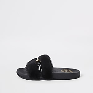Girls black faux fur snaffle sliders