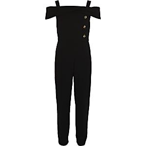 Girls black boat neck jumpsuit