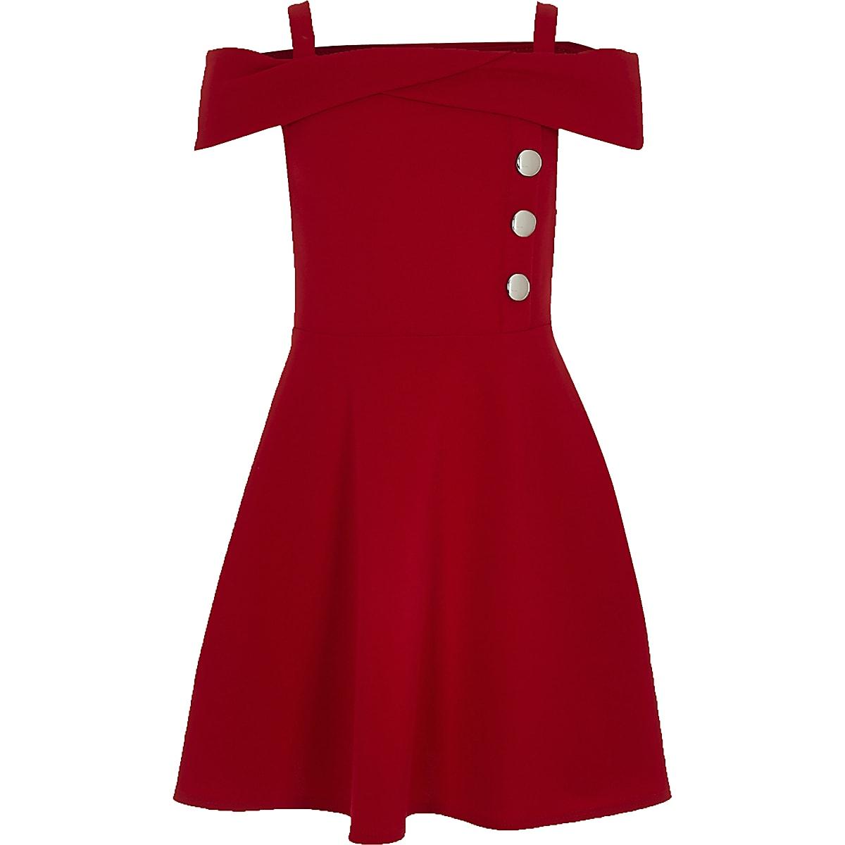 Girls red bardot button dress