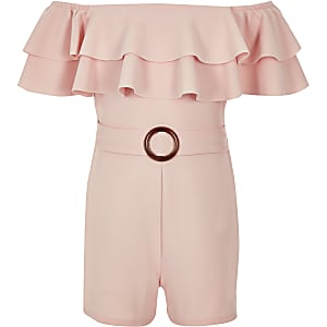 Girls light pink bardot frill playsuit