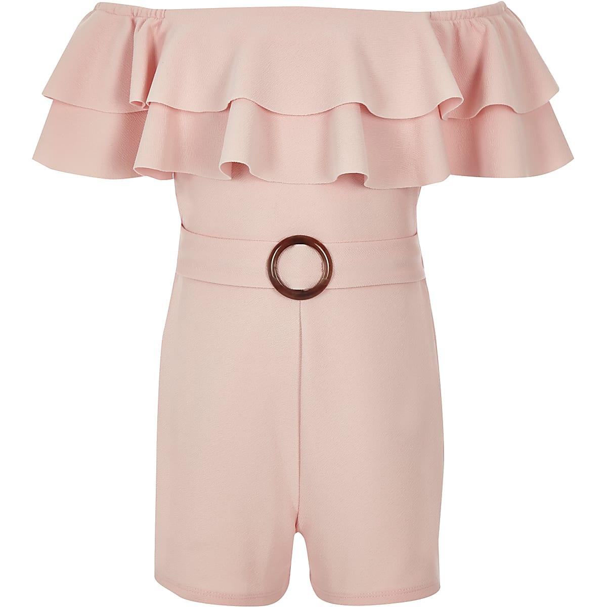 0228092186 Girls light pink bardot frill playsuit - Playsuits - Playsuits   Jumpsuits  - girls