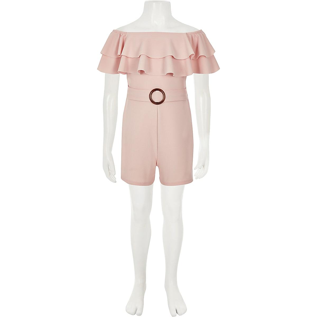 8616930fd1 Girls light pink bardot frill playsuit - Playsuits - Playsuits ...