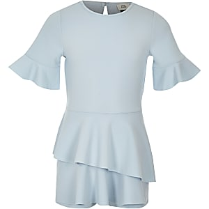 Girls light blue short sleeve skort romper