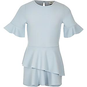 Girls light blue short sleeve skort romper
