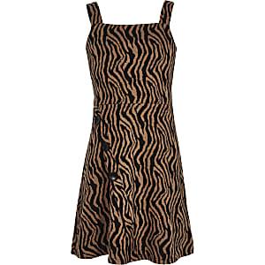 Zwarte overgooier met zebra print voor meisjes
